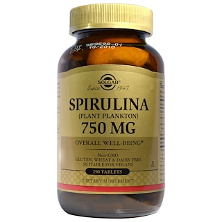 Solgar, スピルリナ, 750 mg, 250 錠