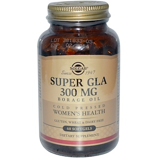 Solgar, Aceite de borraja, Super GLA, Salud Femenina, 300 mg, 60 cápsulas blandas