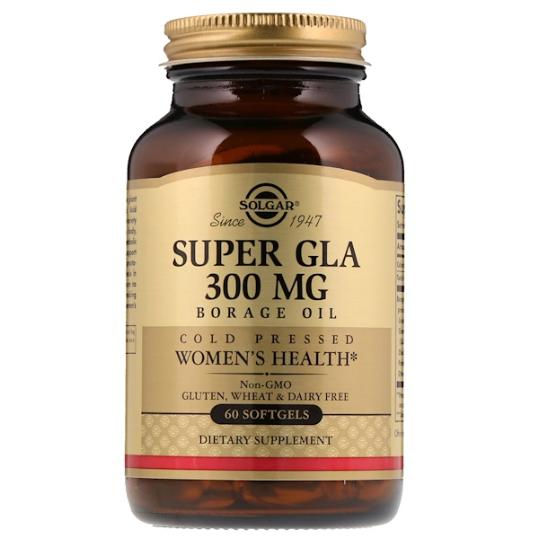 Solgar, Super GLA, Borage Oil, Women's Health, 300 mg, 60 Softgels