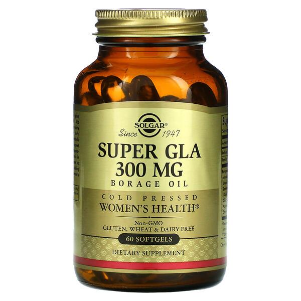 Solgar, Super GLA, Borage Oil, Women's Health, 300 mg, 60 Softgels