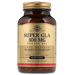 Солгар, Super GLA, Borage Oil, Women's Health, 300 mg, 60 Softgels отзывы покупателей