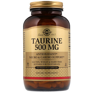 Solgar, Taurine, 500 mg, 250 Vegetable Capsules