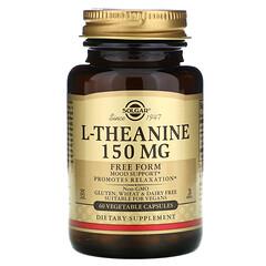 Solgar, L- 茶氨酸,游離形式,150 毫克,60 粒素食膠囊。
