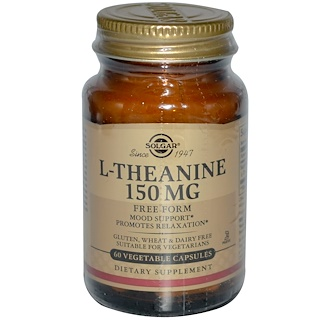 Solgar, L-Theanine, Free Form, 150 mg, 60 Vegetable Capsules