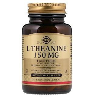 Solgar, L-теанин, свободная форма, 150 мг, 60 растительных капсул