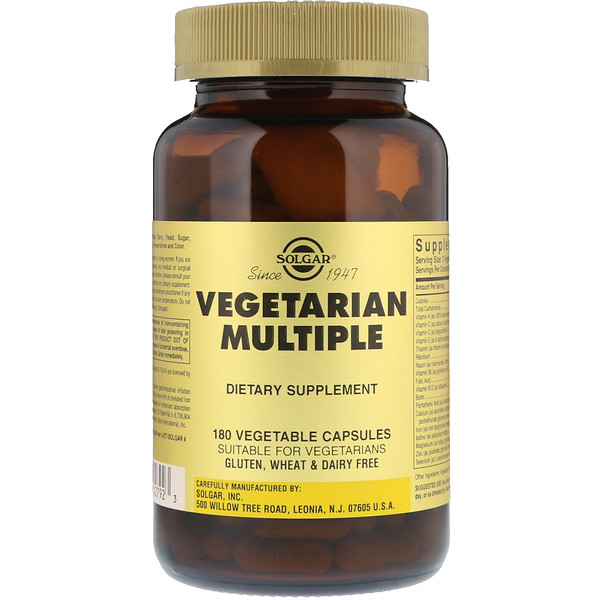Solgar, Vegetarian Multiple, 180 Vegetable Capsules