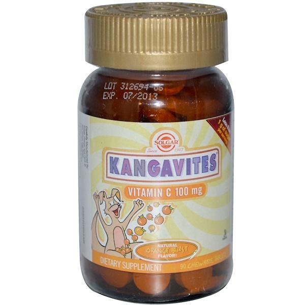Solgar, Kangavites, Vitamin C, Natural Orange Burst Flavor, 100 mg, 90 Chewable Tablets (Discontinued Item)