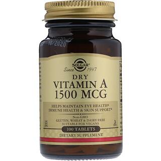 Solgar, Dry Vitamin A, 1,500 mcg, 100 Tablets