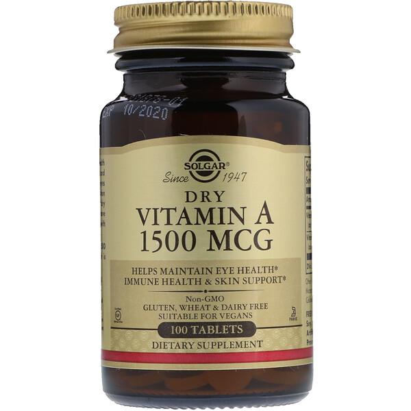 Solgar, Dry Vitamin A, 1500 mcg, 100 Tablets