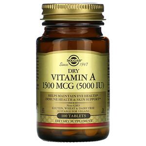 Солгар, Dry Vitamin A, 1,500 mcg, 100 Tablets отзывы