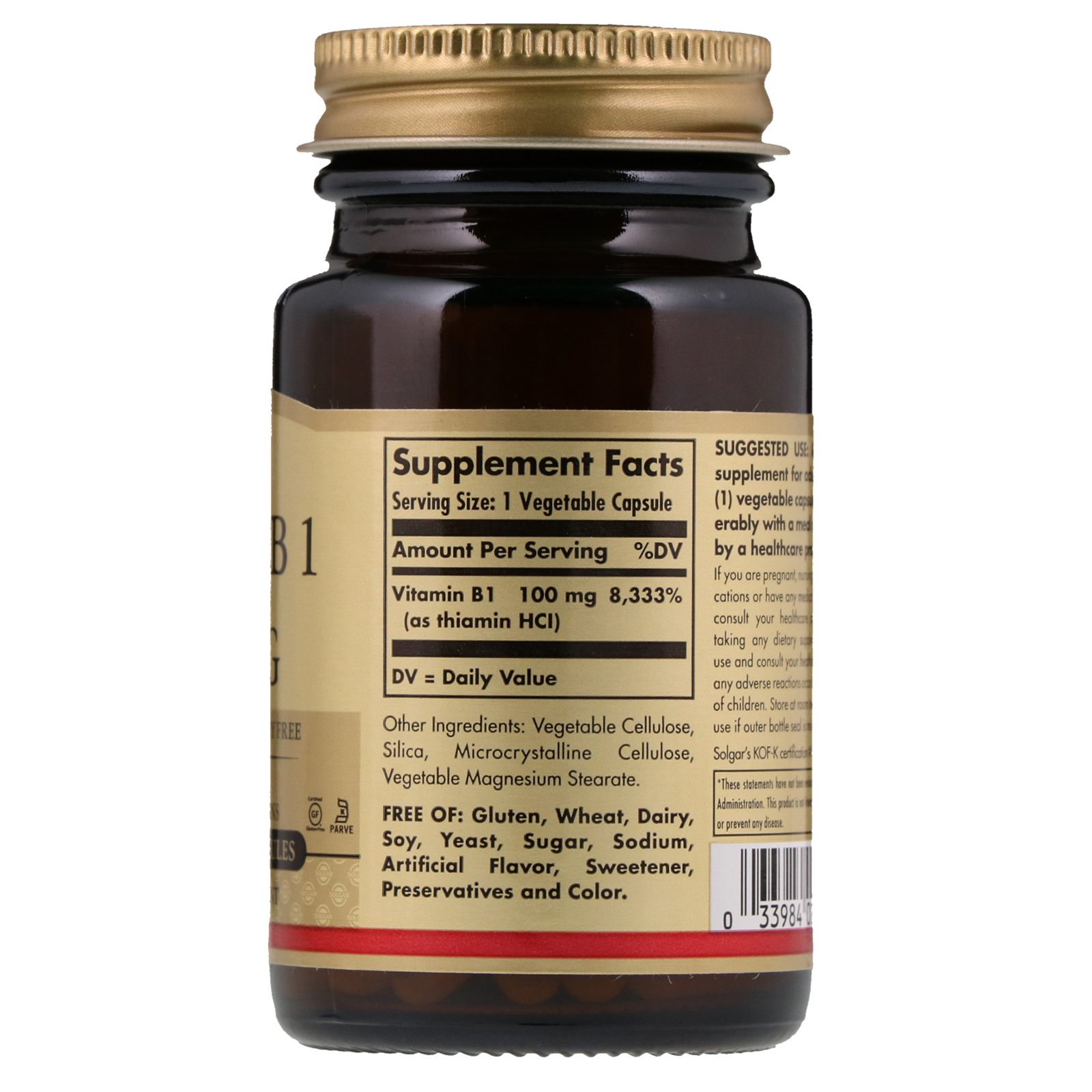 Solgar Vitamin B1 100 mg 100 Ve able Capsules iHerb