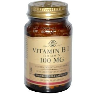 Solgar, ビタミンB1、100 mg、ベジタリアンカプセル100錠