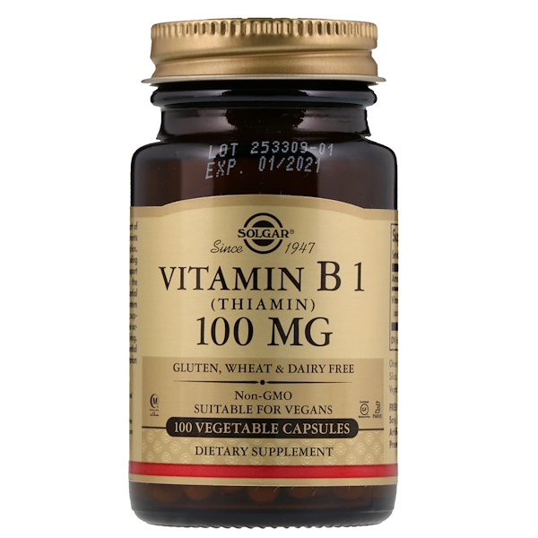 Solgar, Vitamin B1, 100 mg, 100 Vegetable Capsules