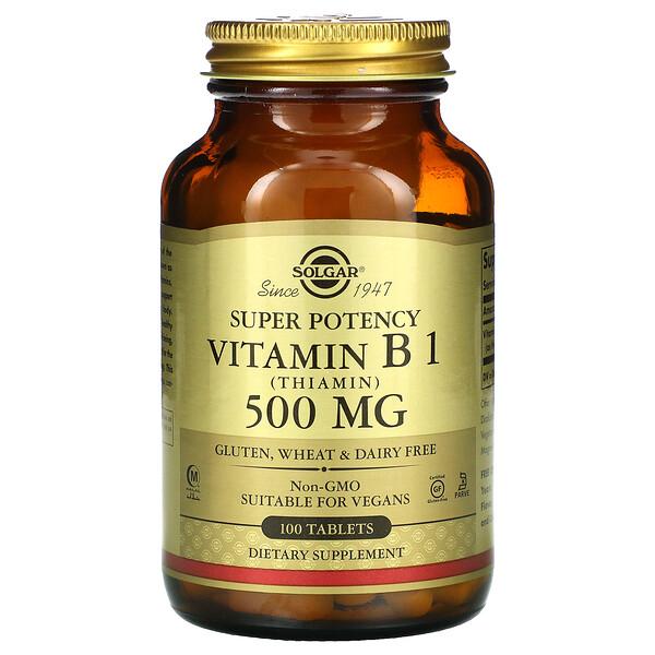 Solgar, Vitamin B1, 500 mg, 100 Tablets