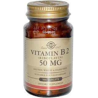 Solgar, ビタミンB2、50 mg、100錠
