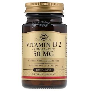Solgar, Vitamin B2, 50 mg, 100 Tablets