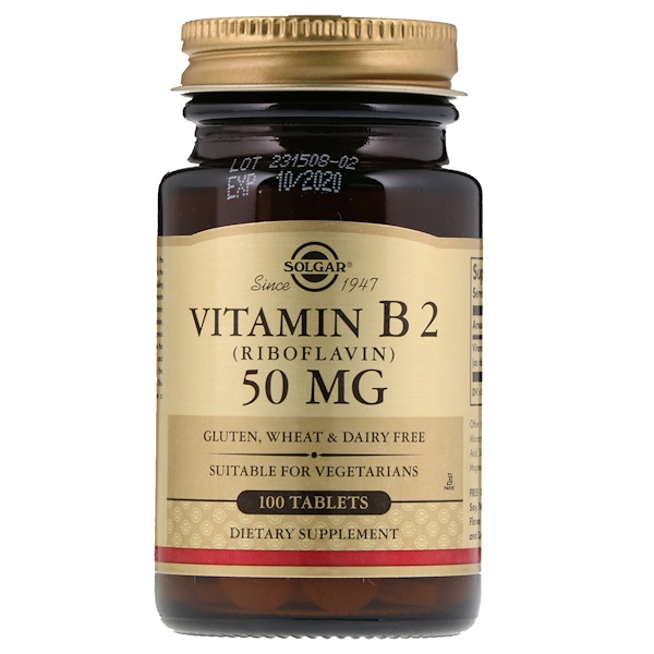 Solgar, Vitamin B2 (Riboflavin), 50 mg, 100 Tablets