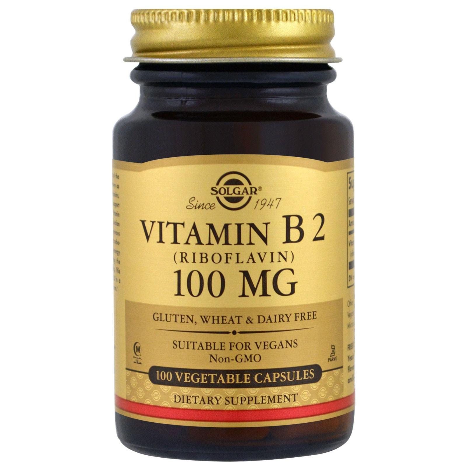 Solgar, Витамин B2, 100 мг, 100 растительных капсул