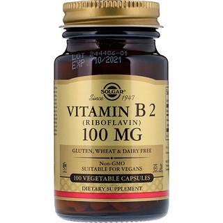 Solgar, Vitamin B2 (Riboflavin), 100 mg, 100 Vegetable Capsules