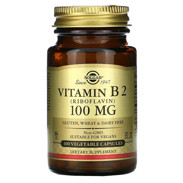Solgar, فيتامين B2، 100 مجم، 100 كبسولة نباتية
