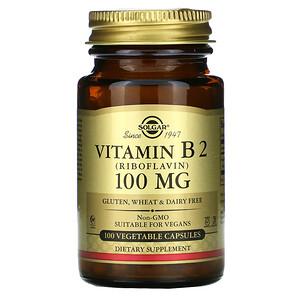 Солгар, Vitamin B2 (Riboflavin), 100 mg, 100 Vegetable Capsules отзывы покупателей