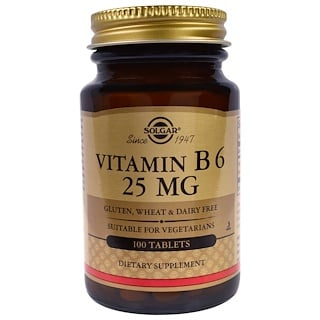 Solgar, Vitamin B6, 25 mg, 100 Tablets