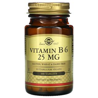 Solgar, Vitamin B6, 25mg, 100Tabletten