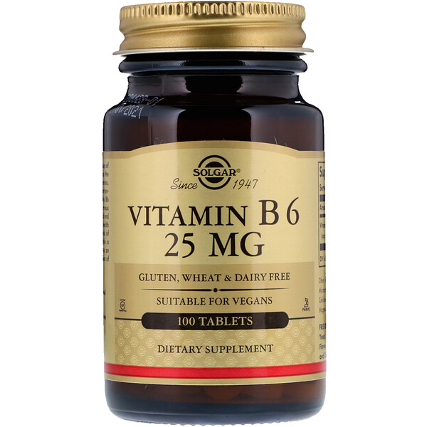 Vitamin B6, 25 mg, 100 Tablets