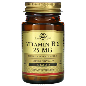Солгар, Vitamin B6, 25 mg, 100 Tablets отзывы