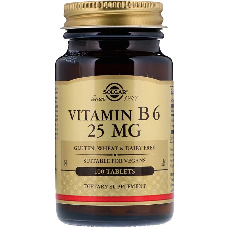Vitamin B6, 25 mg, 100 Tablets