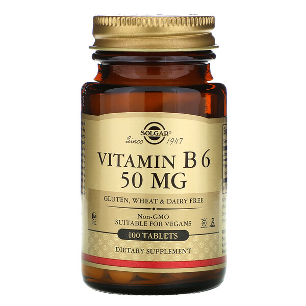 Vitamin B6, 50 mg, 100 Tablets