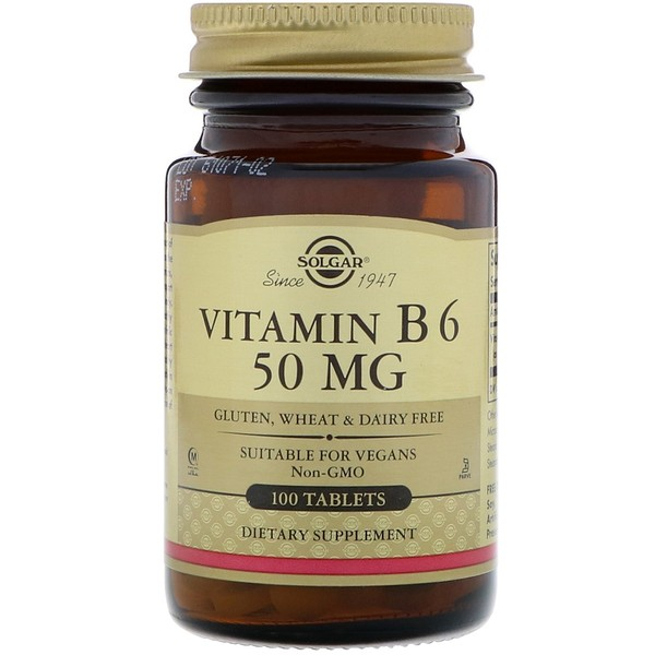 Solgar, Vitamin B6, 50 mg, 100 Tablets