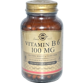 Solgar, Vitamin B6, 100 mg, 250 Vegetable Capsules