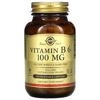 Solgar, Vitamin B6, 100 mg, 250 Vegetable Capsules