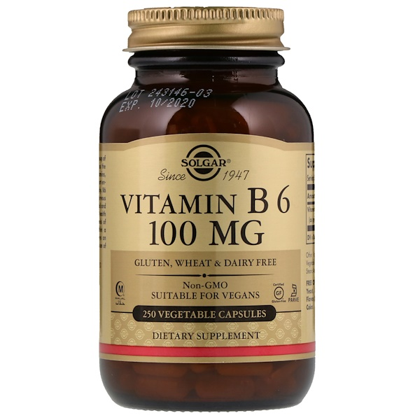 Vitamin B6, 100 mg, 250 Vegetable Capsules