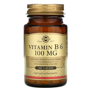 Solgar, Vitamin B6, 100 mg, 100 Tablets