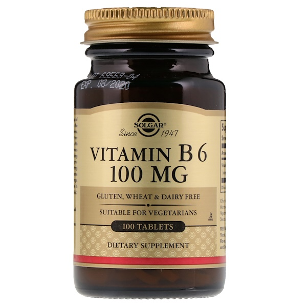 Solgar, Vitamin B6, 100 mg, 100 Tablets