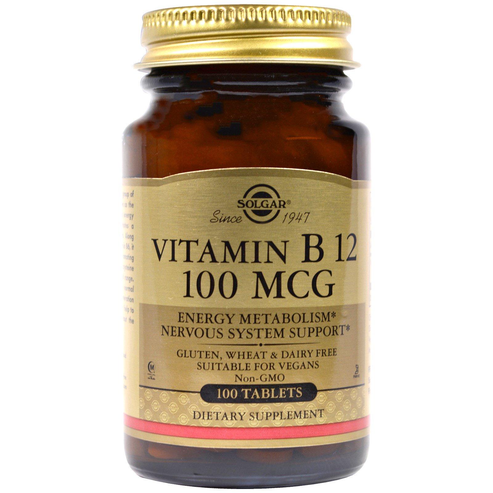 Solgar, Витамин B12, 100 мкг, 100 таблеток