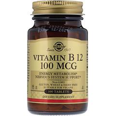 Solgar, Vitamin B12, 100 mcg, 100 Tablets