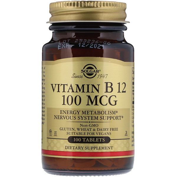 Solgar, Vitamin B12, 100 mcg, 100 Tablets