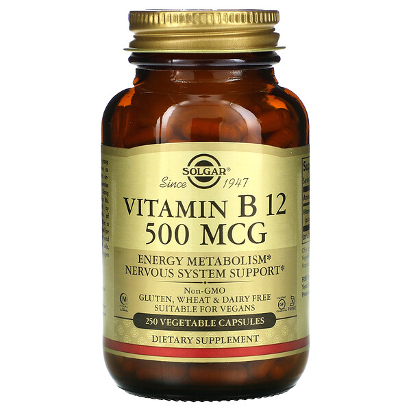 Solgar, Vitamin B12, 500 mcg, 250 Vegetable Capsules