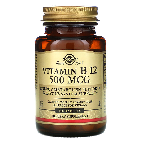 Solgar, Vitamin B12, 500 mcg, 100 Tablets