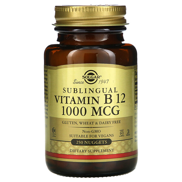Solgar, Vitamine B12, sublinguale, 1000 μg, 250 comprimés sublinguaux
