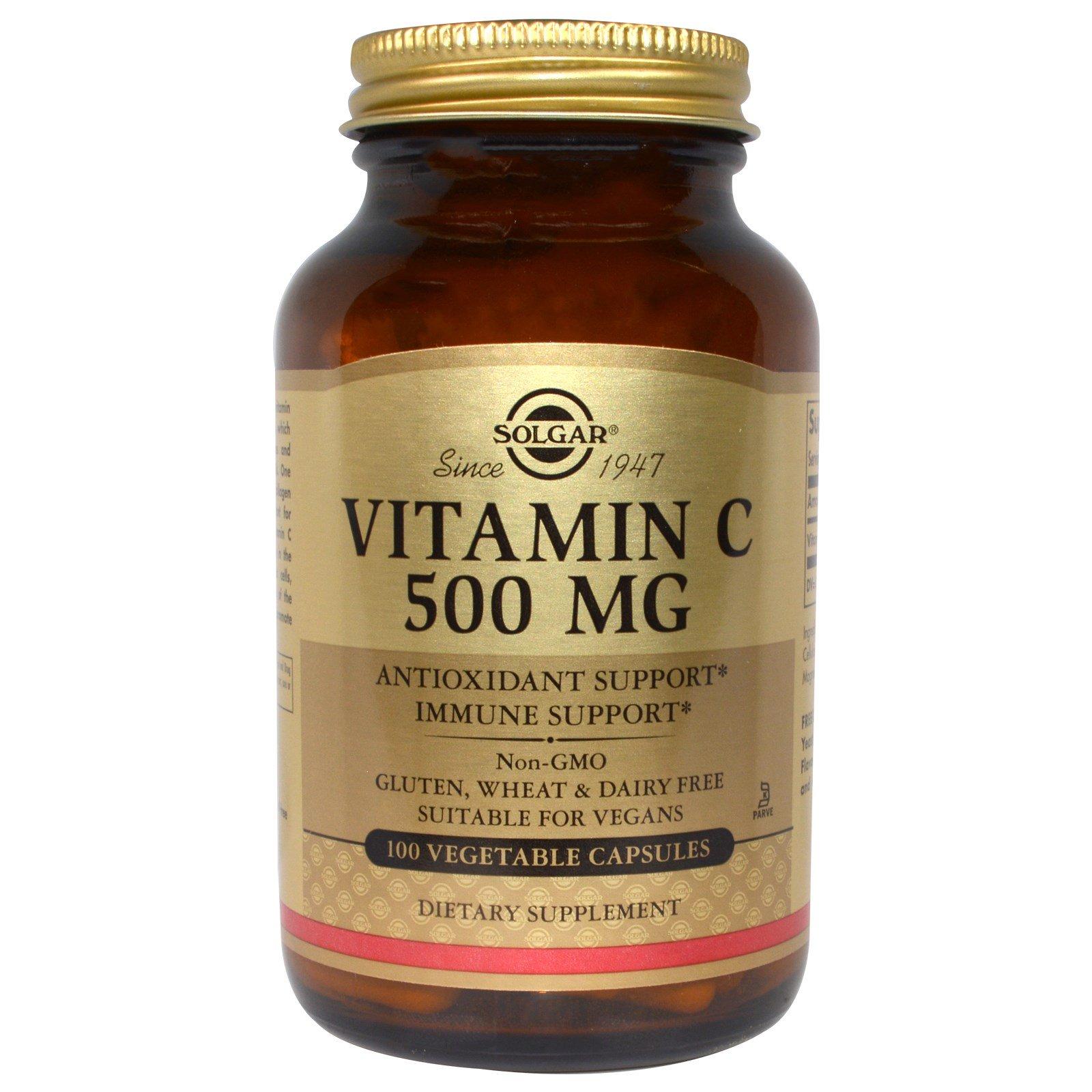 Solgar, Витамин C, 500 мг, 100 вегетарианских капсул