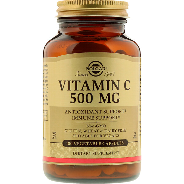 Solgar, Vitamina C, 500 mg, 100 Cápsulas Vegetais