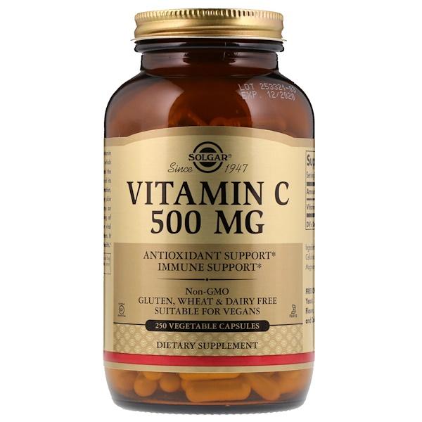 Solgar, Vitamina C, 500 mg, 250 Cápsulas Vegetais