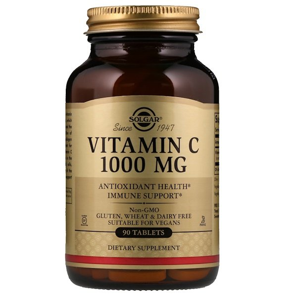 Solgar, Vitamina C, 1000 mg, 90 Tabletas