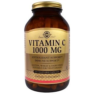 Solgar, ビタミンC, 1000 mg, 250粒(ベジタリアンカプセル)
