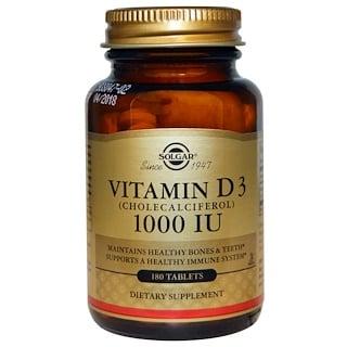 Solgar, ビタミンD3, 1,000 IU, 180錠