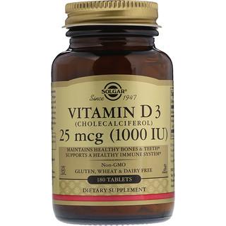 Solgar, Vitamin D3 (Cholecalciferol), 1000 IU, 180 Tablets